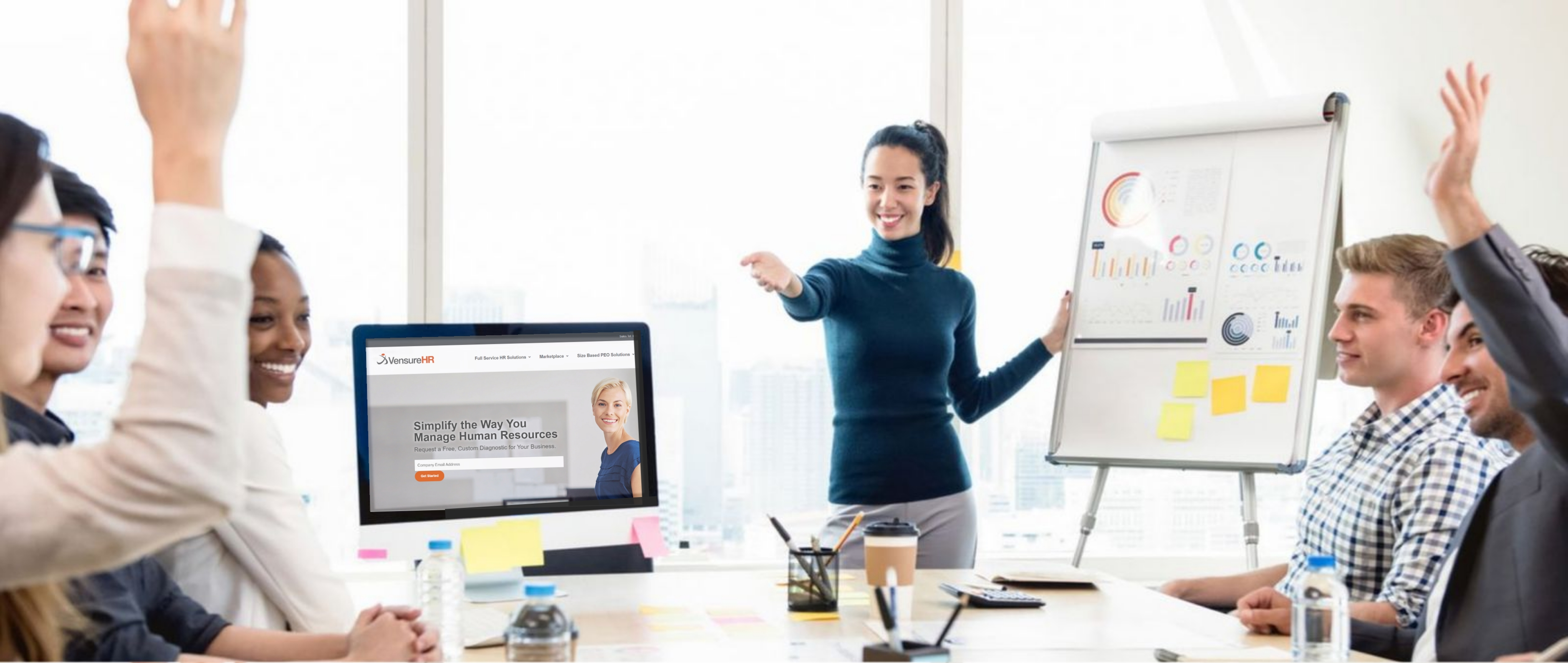 A young businesswoman develops new skills in career by presenting to her team once per week